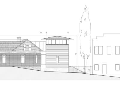 w residence west elevation
